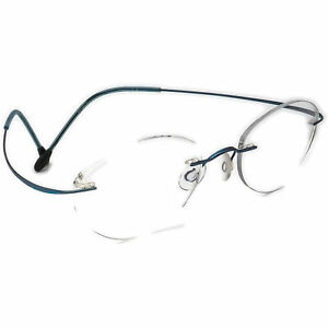 Silhouette Eyeglasses M 7395 Blue Rimless Metal Frame Austria 51[]19 130