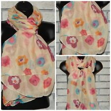 """YELLOW WITH MULTICOLORS FLOWER FLORAL WATERCOLORS SCARF 70"""" X 35"""" NW INDIANA"""