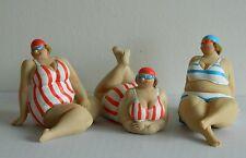 SEASIDE FAT LADIES ORNAMENTS SET OF 3 BATHROOM ORNAMENTS