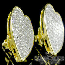 16mm Big Yellow Gold Over Sterling Silver .20ct Real Genuine Heart Stud Earrings