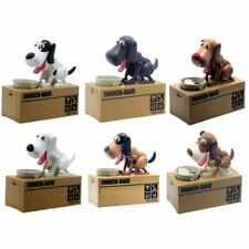 Cute Hungry Eating Dog Model Coin Piggy Bank Plastic Saving Money Box US