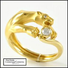 Estate Authentic Carrera y Carrera 18K Yellow Gold Diamond Panther Ring sz 6.25