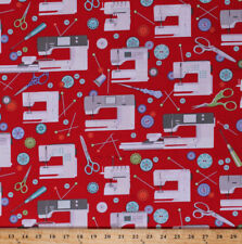 Sewing Machines Bernina Sewing Room Red Cotton Fabric Print by Yard D573.18
