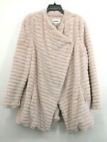 BB Dakota Womens Pale Pink Button Front What A Girl Wants Faux Fur Coat XXL $138