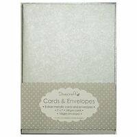 "8x Silver Metallic 5""x7"" Quality Grade Kraft Card Blanks + Envelopes (Dovecraft)"