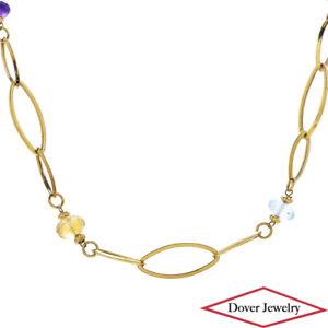 Estate Amethyst Topaz Citrine 14K Gold Fancy Long Bead Link Necklace 10.9 Gr NR
