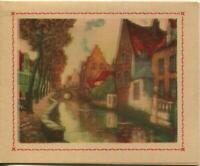 VINTAGE BRICK STONE HOUSES VILLAGE STREAM TREES MISPRINT CARD LITHOGRAPH PRINT