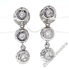 18K White Gold 0.20ctw Round Diamond Engraved 3 Circle Drop Dangle Post Earrings