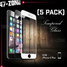"For iPhone 6 6S Plus 5.5"" FULL COVER Tempered Glass Screen Protector White 5PC"