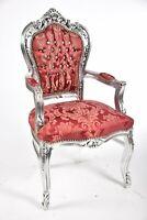 Poltrona barocco in legno di faggio Luigi XVI foglia argento tessuto rosso damas
