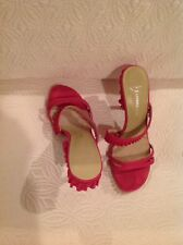 Lisa For Donald J Plainer Hot Pink Ilsa Suede Ruffle Heel Strappy Sandal 8.5