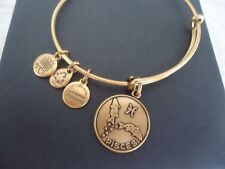Authentic Alex and Ani PISCES Russian Gold Charm Bangle New W/Tag Card & Box