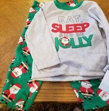 Toddler Boys Santa Eat Sleep & Be Jolly Christmas/Holiday Fleece 2 Pc Pajamas-4T