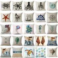 Marine Ocean Creature Cotton Linen Pillow Cover Case Sofa Cushion Home Decor