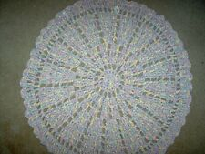 "Hand crocheted pastel multicolor rug, 39"", round. matching items listed"