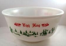 Anchor Hocking Egg Nog Punch Bowl Holly Christmas Holiday Presents Trees