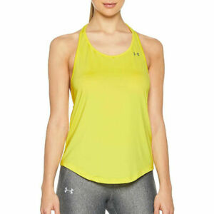 Under Armour UA HeatGear Mesh Back Tank Yellow Ladies Sports Running Vest