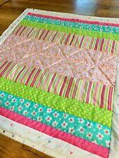 "Pink Baby Girl Quilt Handmade Stripes Design 37"" x 41"" New Soft"