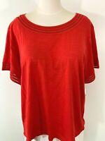 New~$49 RAFAELLA Women 2X Plus Red Short-Sleeve Stretch-Cotton Top Shirt Blouse