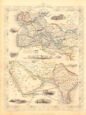 OVERLAND ROUTE TO INDIA. Ship France Germany Euphrates. TALLIS & RAPKIN 1851 map
