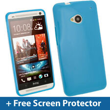 Blue Glossy TPU Gel Case for HTC One M7 Android Skin Cover Shell Holder 1