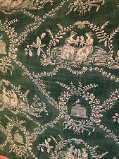 """PIERRE FREY Fabric Toile Paris Kelly Green Ivory Cotton 24.5x 34"""" CRESPIERES"""