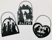 "3 Black Metal Silhouette Christmas Ornaments Holy Family & Three Kings Faith 5"""