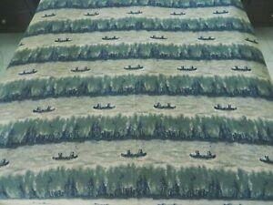 "Vintage Rusty Cabin Farmhouse Fleece Throw Blanket 64""x66"" Canoes Green & Beige"