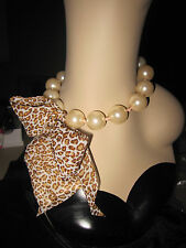 Betsey Johnson Pinkina Toc Big Pearl Leo Ribbon Frontal Necklace