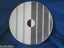 IKEA of SWEDEN Dinner Plates -SET of TWO (2) gray stripes with Purple circle