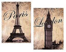 8x10 Laminated Pictures Art Prints Paris London Eiffel Tower Big Ben Clock