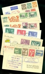 EDW1949SELL : BRITISH COMMONWEALTH Nice group of 6 Better FDCs incl 2 Registered