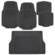 ACDelco All Weather Black Rubber Car Floor Mats 5 PC  Trimmable Set