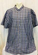 NWOT Denver Hayes 5XL Mens Plaid Check Shirt. Short Sleeved. Blue.