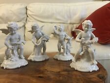 Set 4 Porcelain White Angels Cherubs Figurines Crown Dresden Germany Mint Lot1