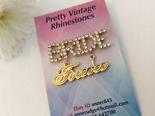 Novia para siempre Vintage Cristal Estrás Pin 14x40mm Craft Reparación Post Gratis