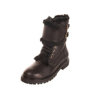 RRP €970 SALVATORE FERRAGAMO CROTONE Leather Boots EU 39 UK 6 US 8.5 Shearling