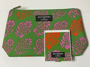 CLINIQUE 2pc MARIMEKKO Makeup / Cosmetic Bag with Matching MIRROR New Limited