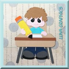 LIVE & LEARN SCHOOL BOY AT DESK EMBELLISHMENT card toppers scrapbooking