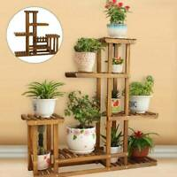 Multi Tier Wood Flower Rack Plant Stand Wood Shelves Bonsai Display Shelf Indoor