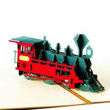 Retro Train 3D Pop Up Greeting Card Birthday Easter Anniversary Thanksgiving