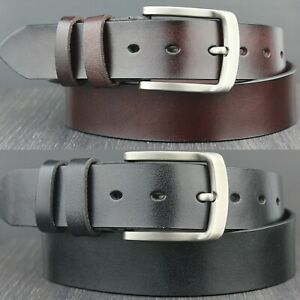 Mens Genuine Real Thick Leather Belt Dark Brown and Black All Sizes