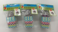 Mini Gift Boxes Take Out Boxes With Handle Chevron Pattern 4ct Lot of 3 (New)