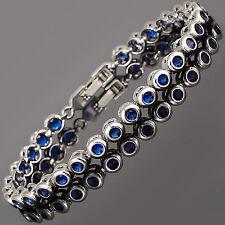 Schmuck Jewelry Fashion Round Cut Blue Sapphire Tennis Statement Bracelet