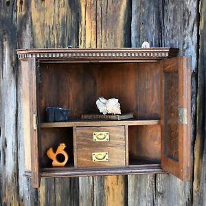 Antique Oak Corner Cabinet Campaign Drawers Bathroom Wall Storage Cabinet