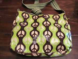 BUNGALOW 360 Lime Green & Brown Peace Sign Coated Messenger Bag