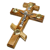 """Wall Orthodox Crucifix from Olive Wood w/ Relics Holy Land Israel Gift 6.3""""/16cm"""