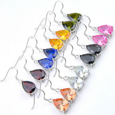 Water Drop 8 pcs 1 lot Rainbow Topaz Peridot Morganite Silver Danlge Earrings