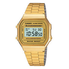 CASIO A168WG GOLD DIGITAL WATCH RETRO VINTAGE A168-WG A168WG-9EF WITH BLUE LIGHT