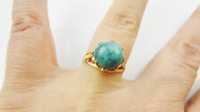 VINTAGE 14 k Solid Yellow Gold Turquoise Ring Size 7